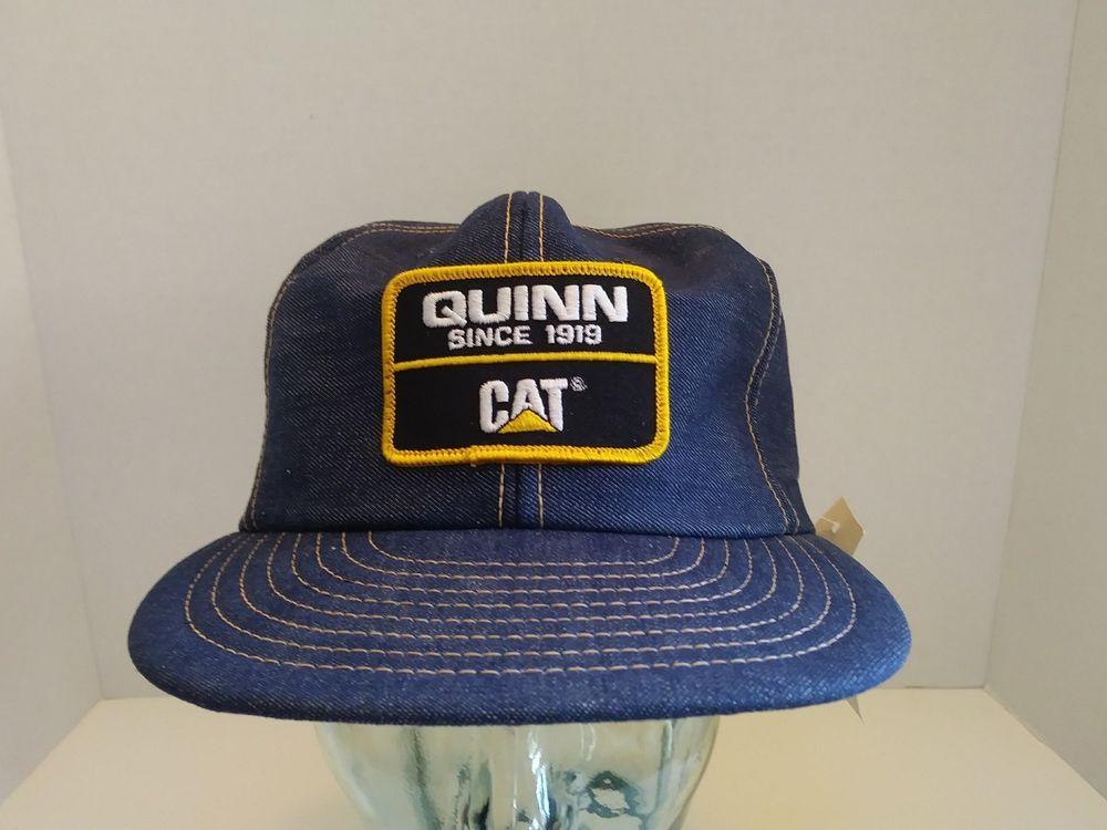 727b548f432 VTG Quinn CAT Caterpillar Denim SnapBack Hat Louisville MADE IN USA NOS W   TAG