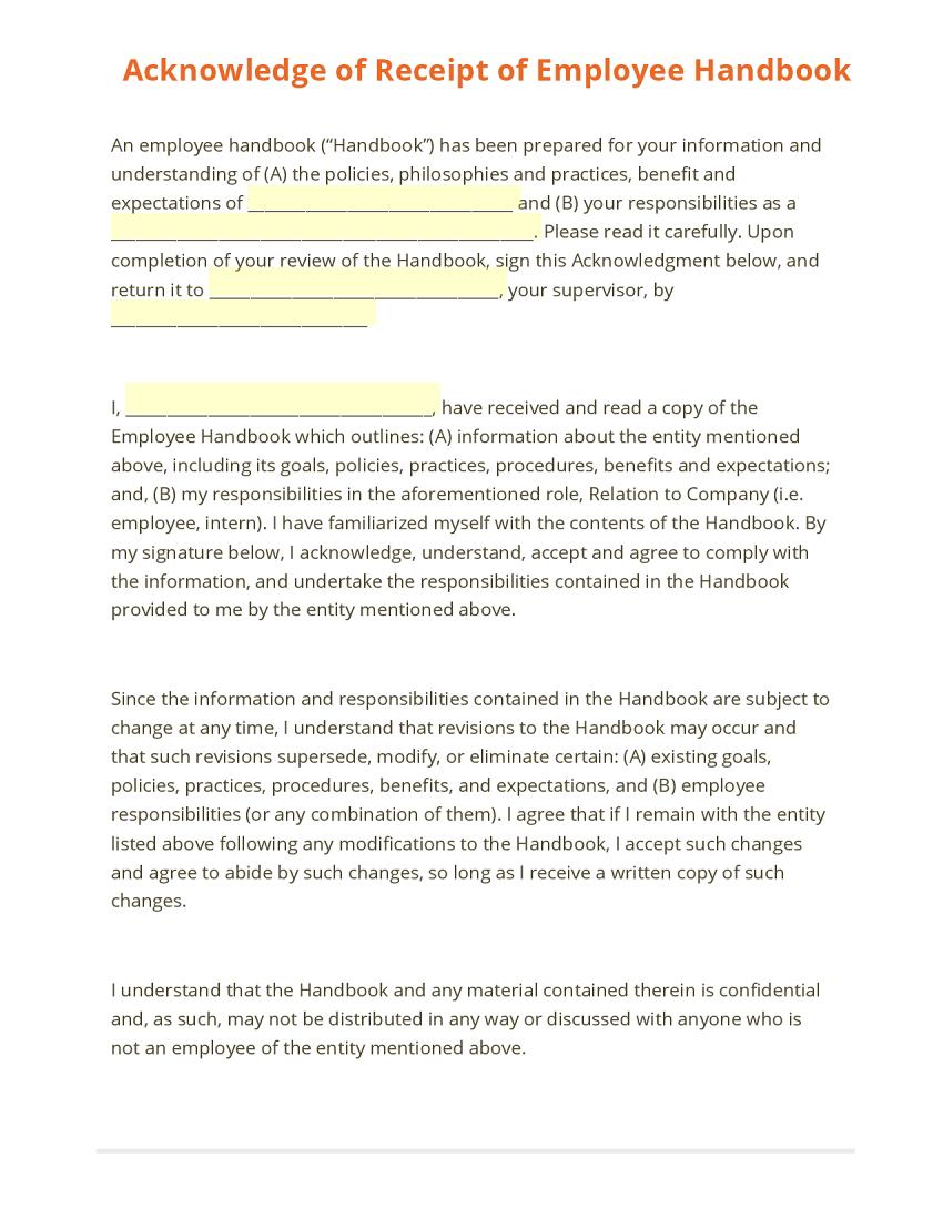 Acknowledgement Of Receipt Of Employee Handbook Employee