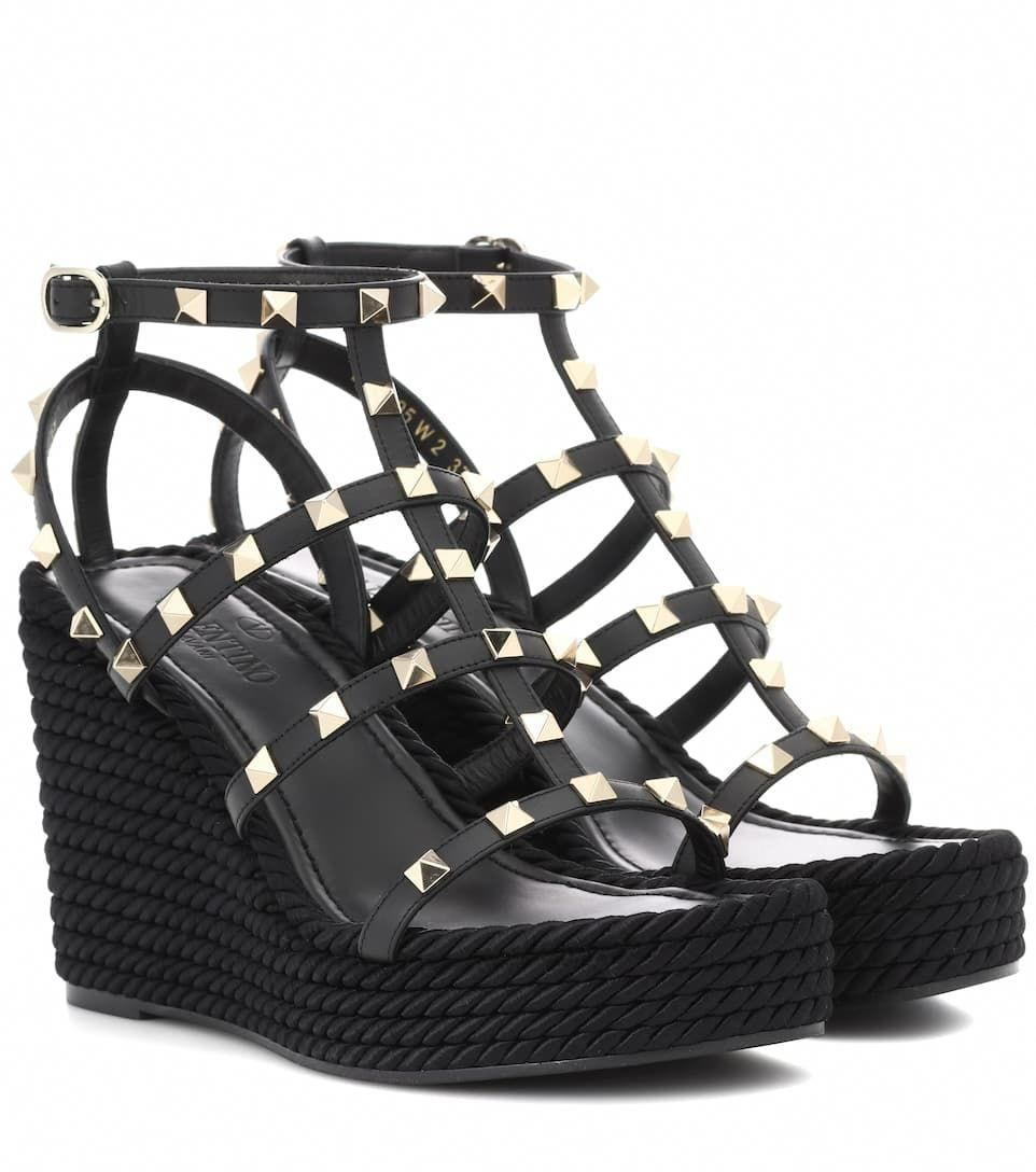 f03d82b7eef Valentino Garavani Torchon Leather Wedge Sandals - Valentino ...