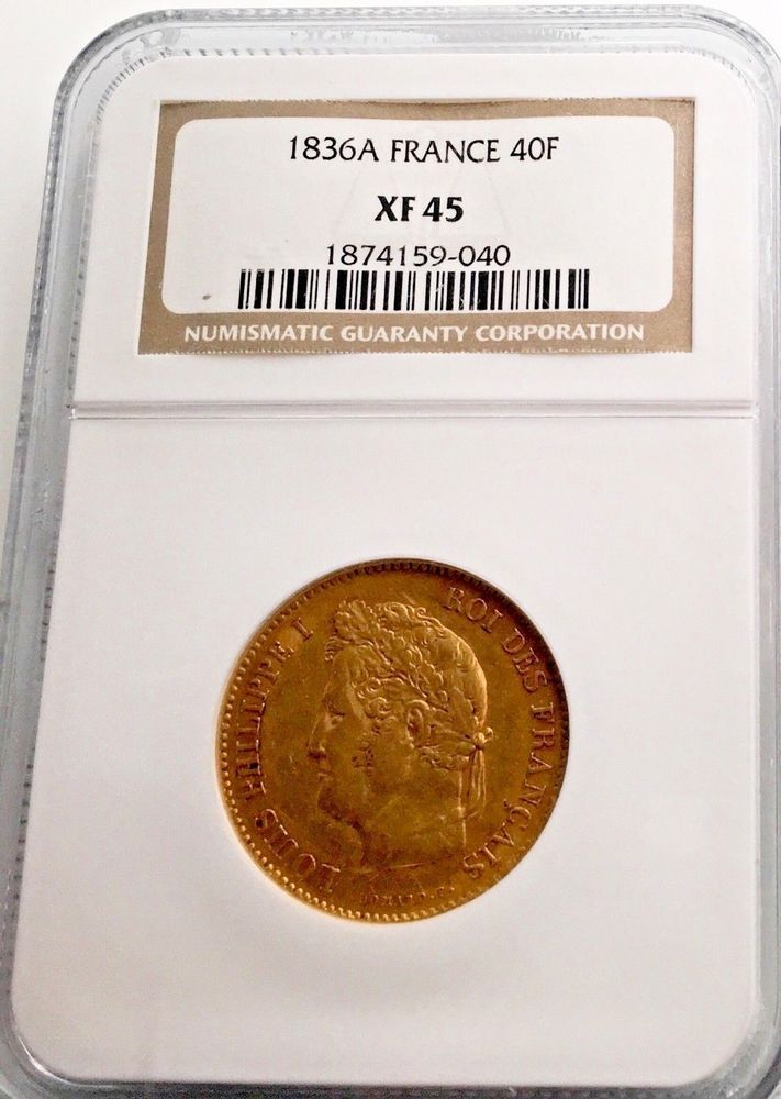 France 1836 A France 40 Francs Ngc Xf 45 Gold Coin Louis Philippe I World Coins Gold Coins Coins For Sale