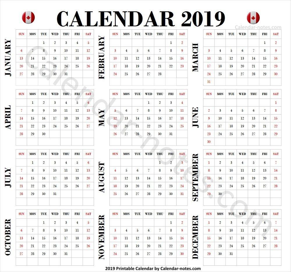 2019 Calendar Canada | Canada Calendar 2019 | Calendar ...