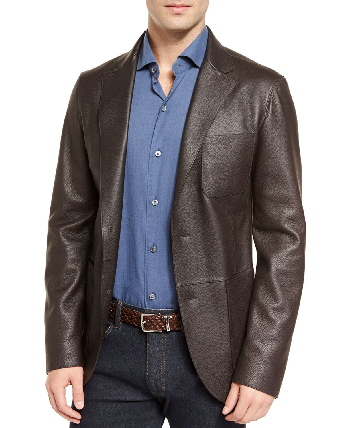 a5079988 Deerskin Leather Two-Button Blazer Brown | *Outerwear > Coats ...
