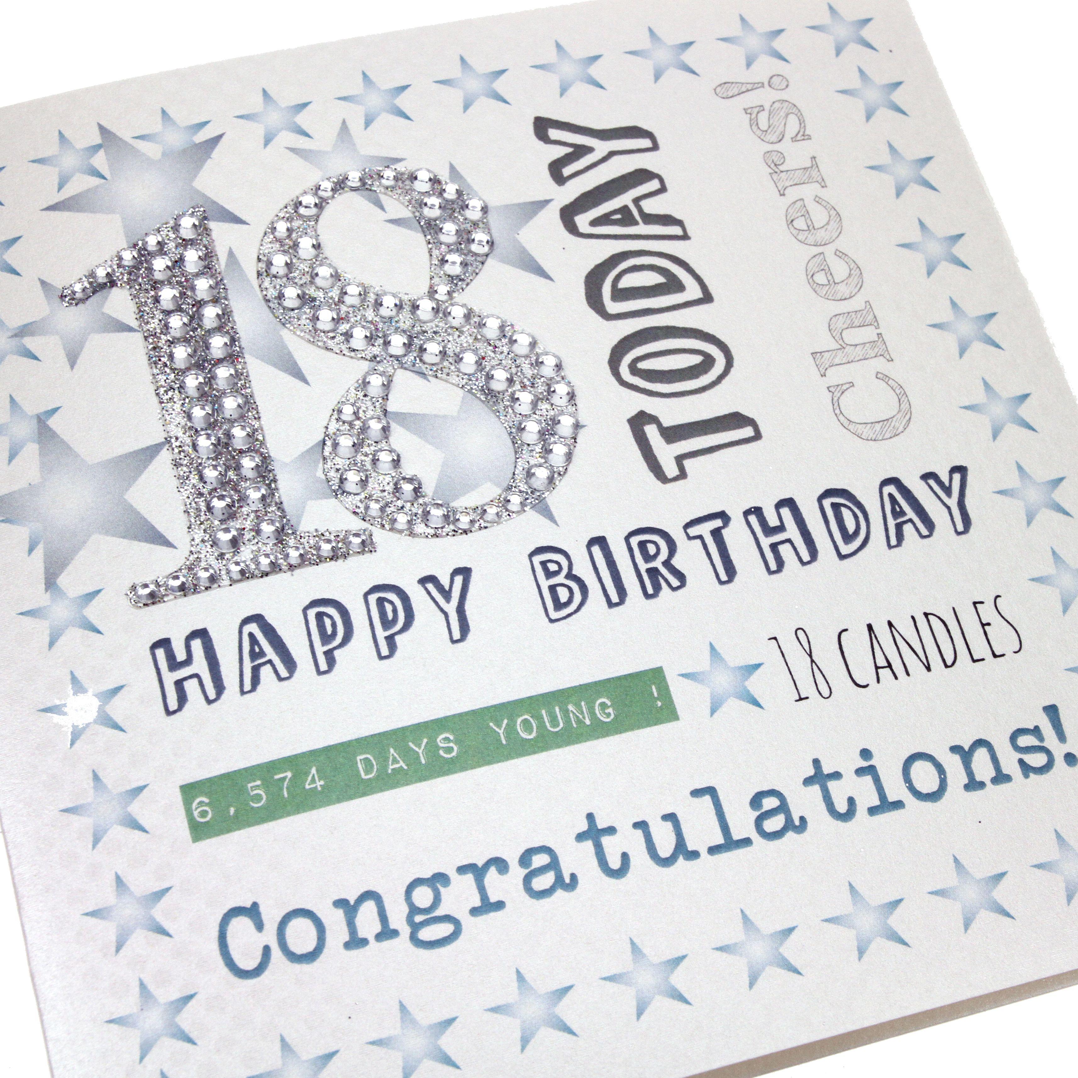 Handmade Mens 18th Birthday Card Glitter Diamanté Numbers Happy