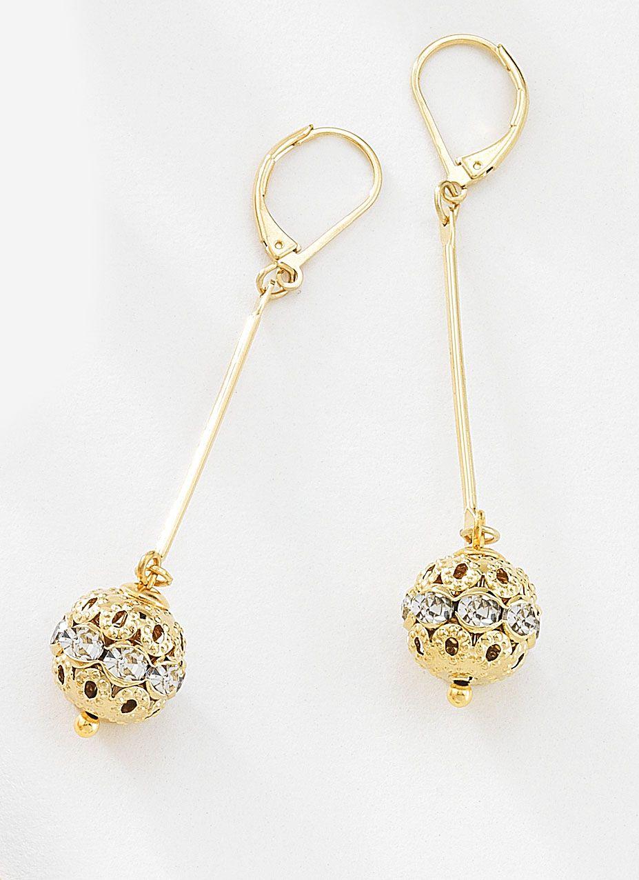 28f8e67908d6 Precioso par de aretes largos con colgantes de barra y esferas con piedras  de cristal incrustrado