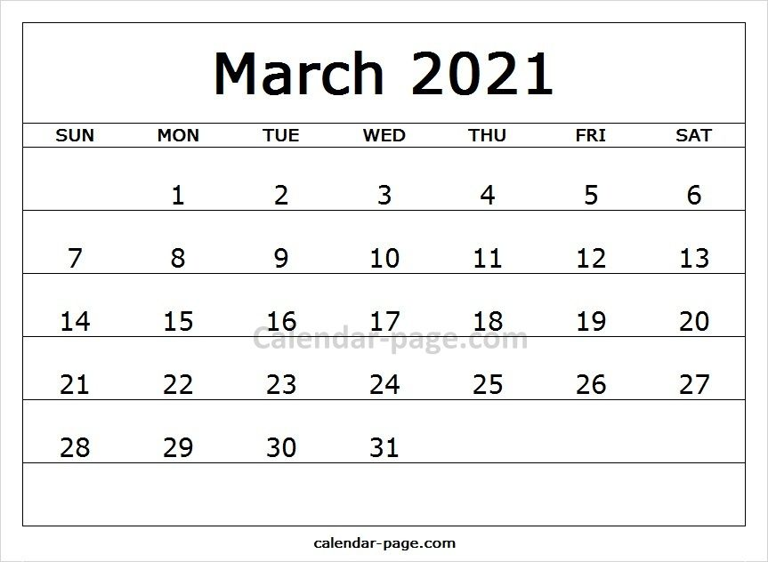 Free Editable Calendar 2021 March Printable Calendar Pages