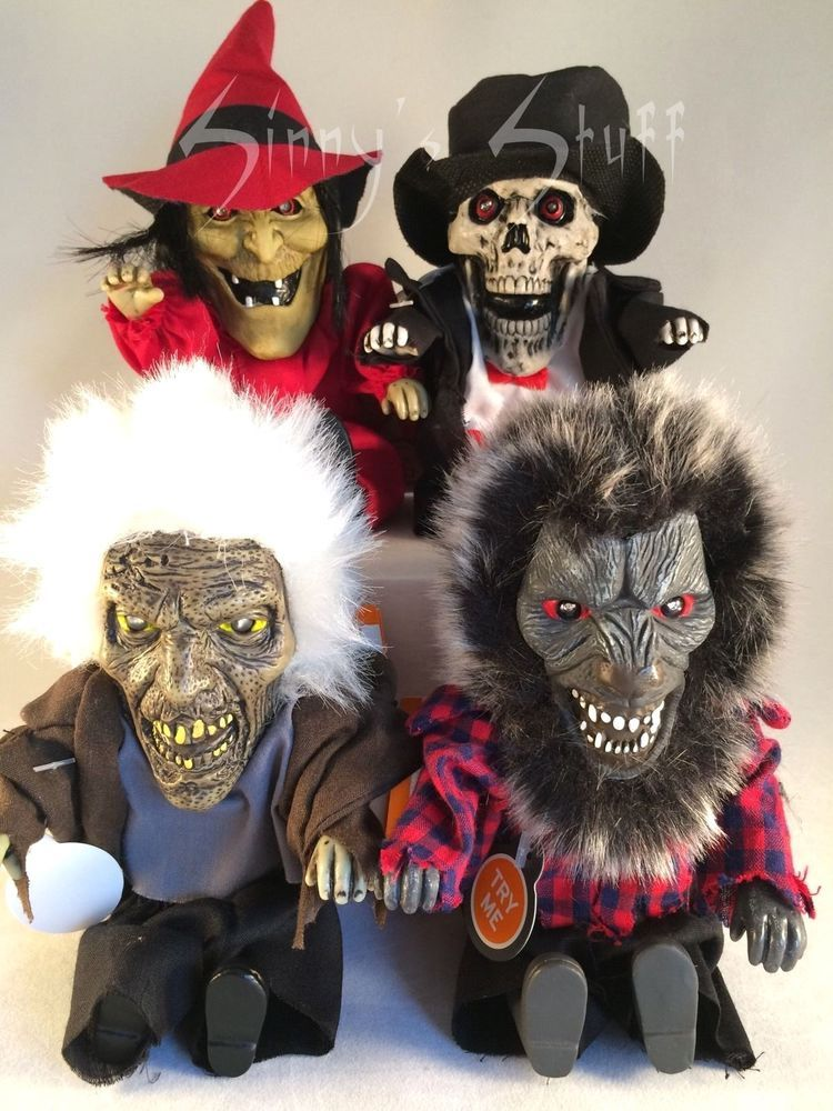4 animated halloween squeeze toy witch skeleton werewolf ghoul talking light up - Talking Halloween Skeleton
