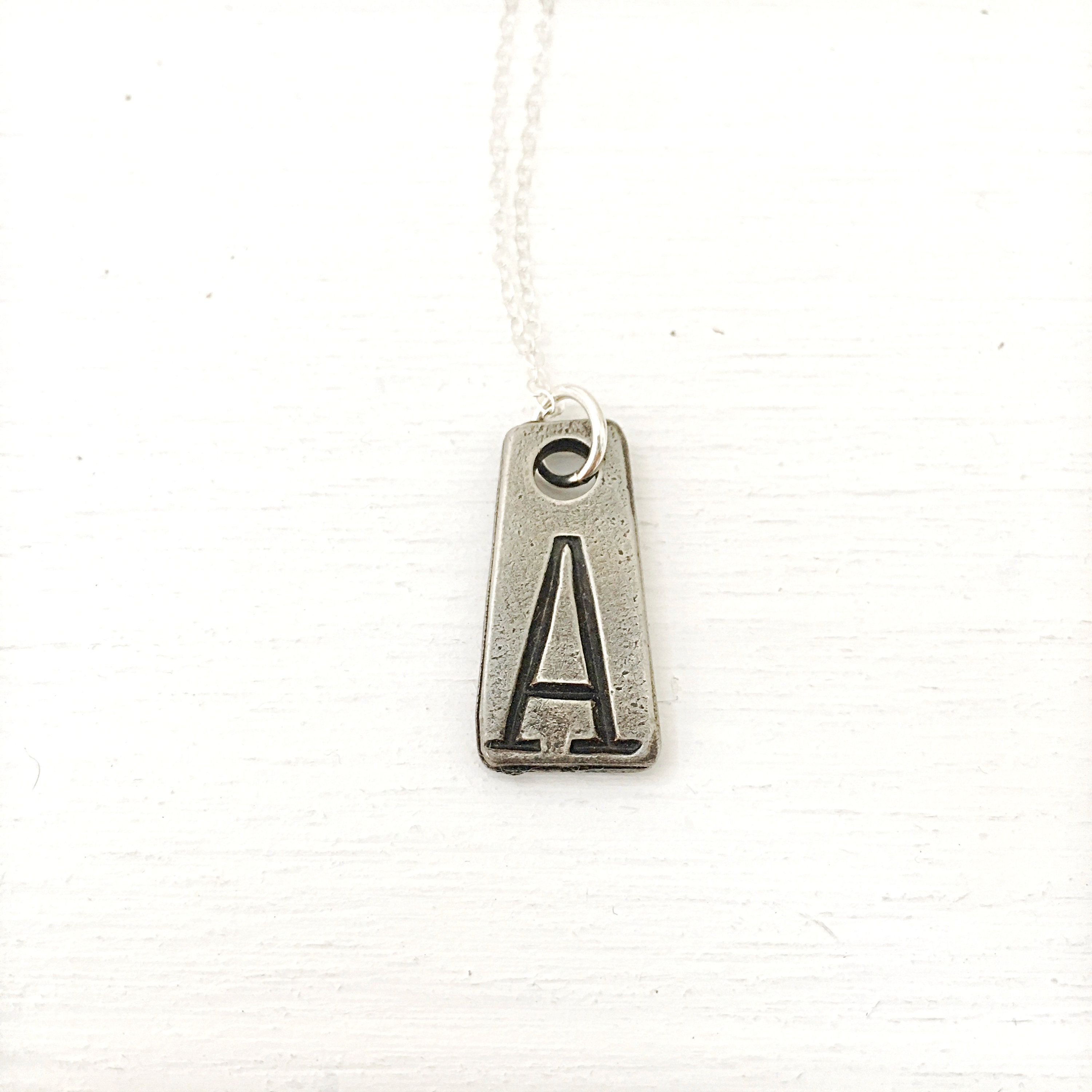 Initial necklace letter a pewter charm on sterling silver chain
