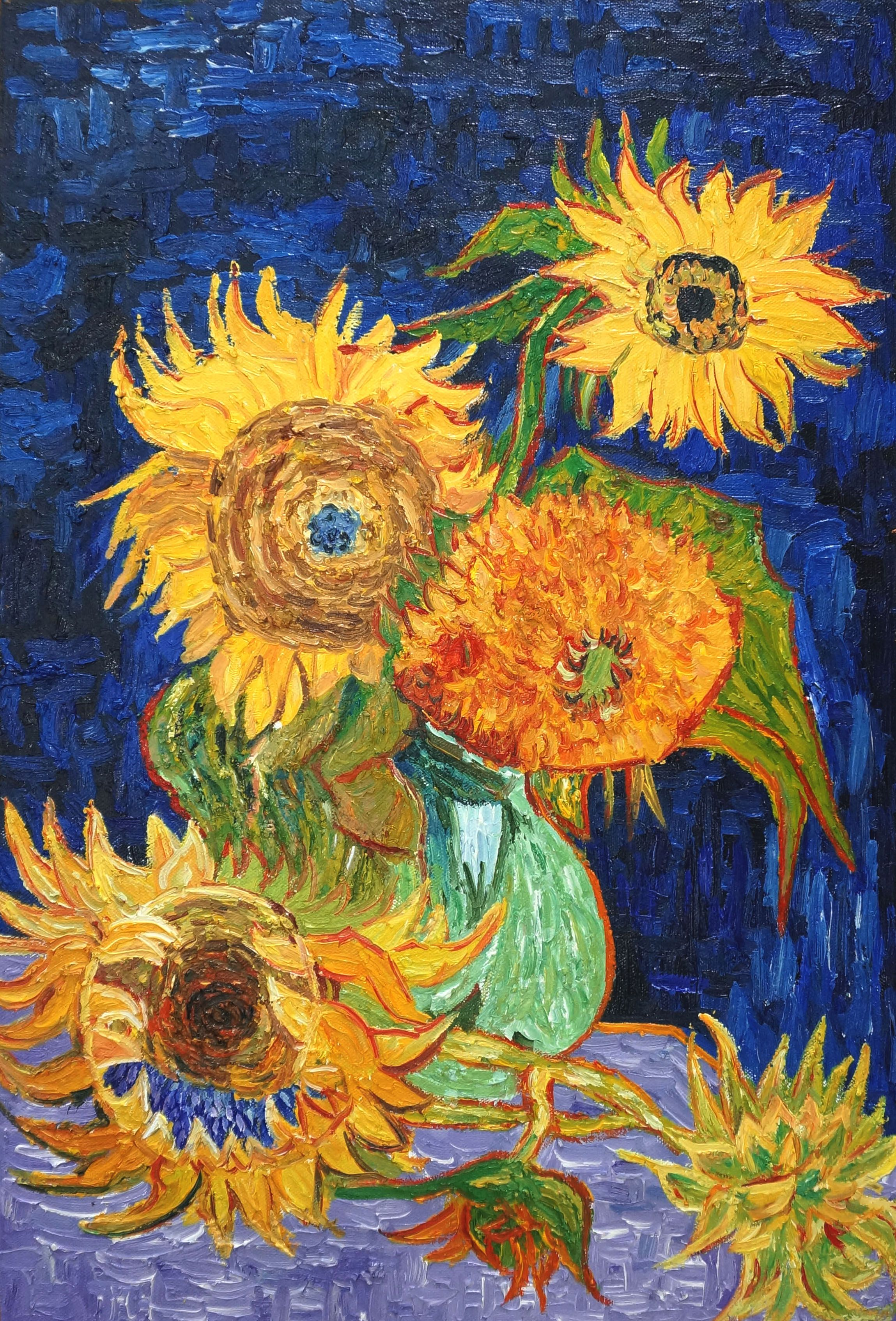 4c391e0eeee37 Vase with Five Sunflowers Oil Painting Reproduction Canvas by ...