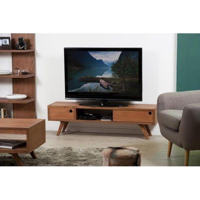 meuble tv avec rangement bois cannelle 140x35x40 fanny