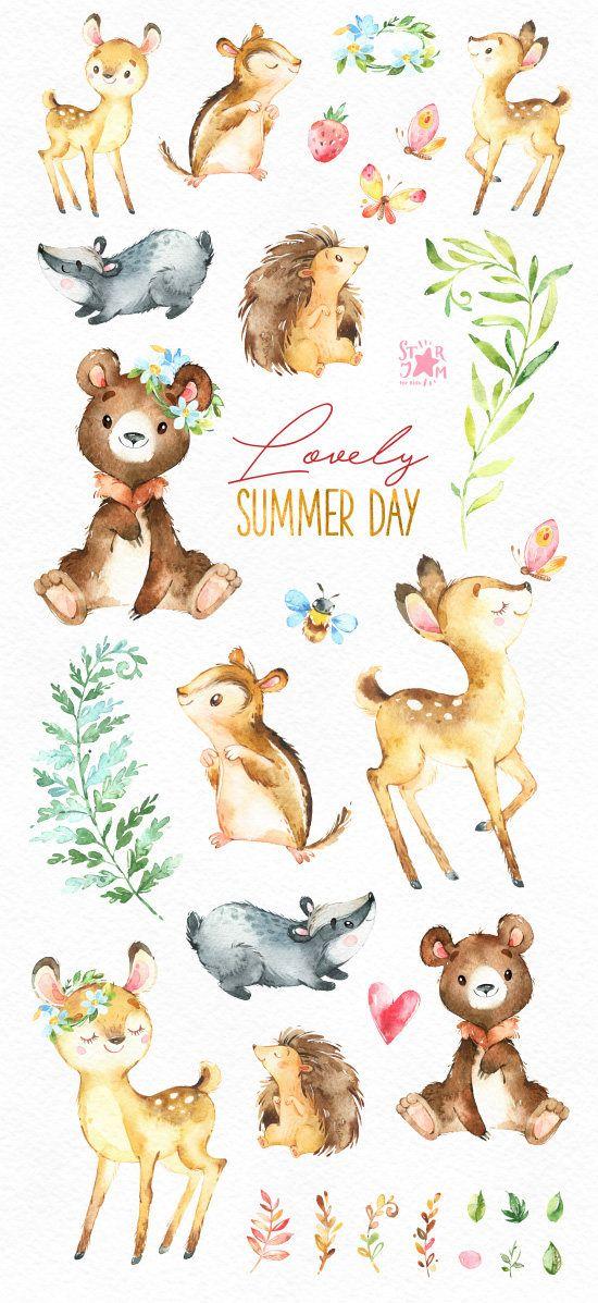 Schonen Sommertag Waldtiere Klammer Kunst Aquarell
