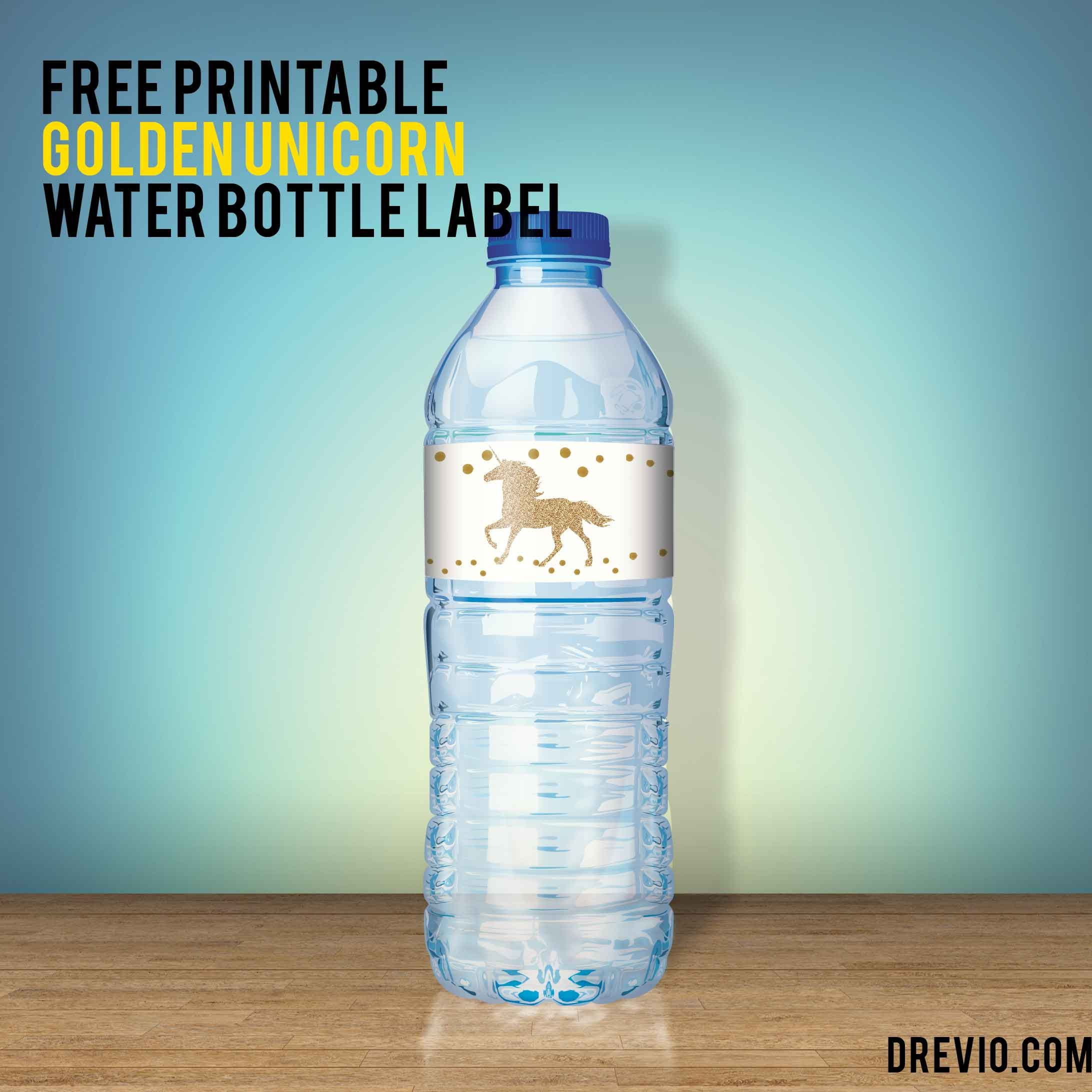 Free unicorn water bottle label printable unicorn