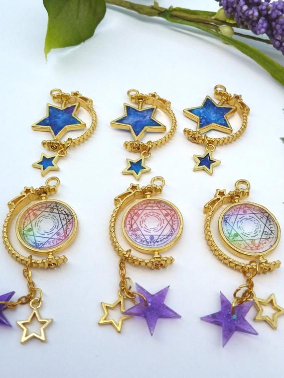 Magic circle and space star spinning pendants on a 14k gold plated necklace. Magical necklace. Space #magiccircle