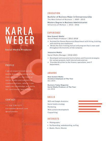 Orange and White Photo Infographic Resume Resume Pinterest - business major resume