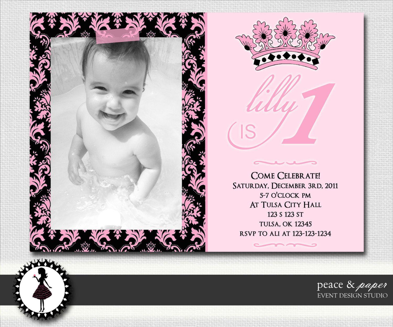 Pink Princess Damask Printable Birthday Invitations Custom Photo – Cute First Birthday Invitations