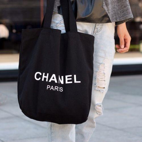 e6f567ba761b Chanel VIP Gift Black Canvas Tote Bag  CHANEL  TotesShoppers ...