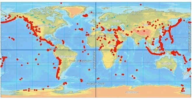 Map Of Active Volcanoes | Volcano Finder   World Volcanoes | Kids