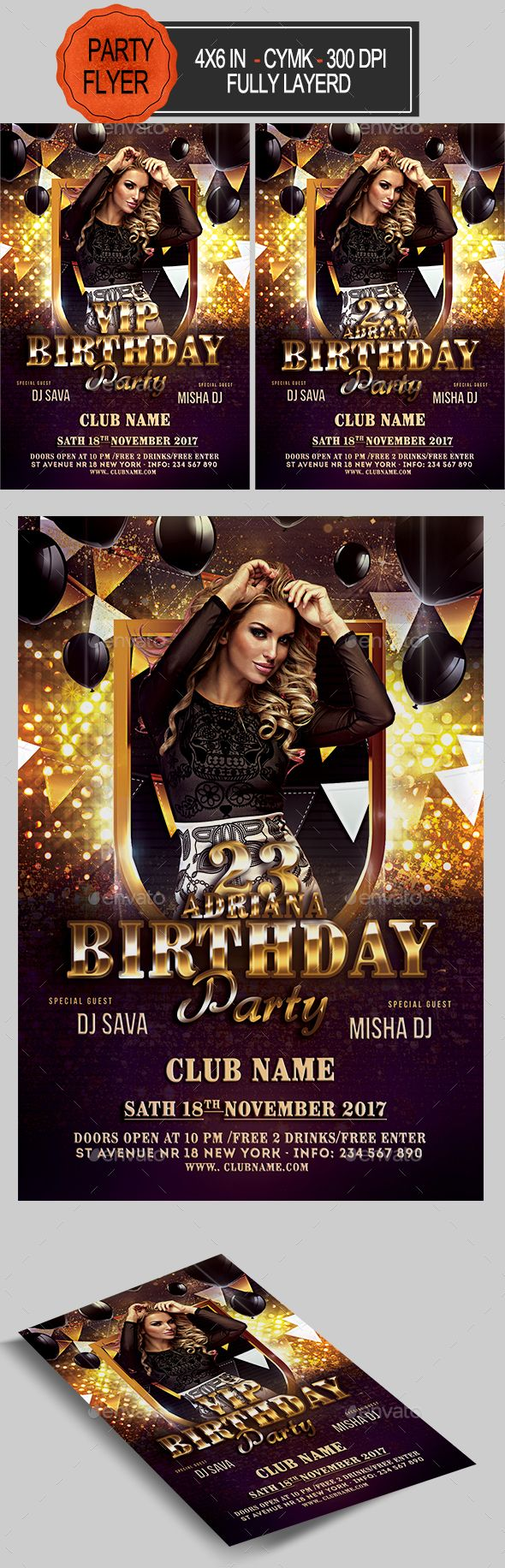 Birthday Flyer  Flyer Template Font Logo And Fonts