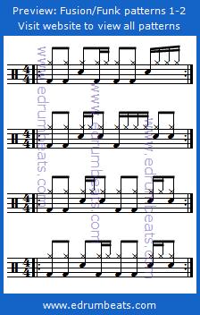 Drum Lesson 1-2 contains 24 beginner funk/fusion drum beats