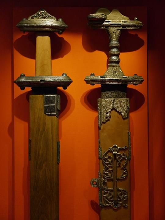 At the Historiska Museet, Stockholm. Photograph courtesy Lindsey Kerr. Vendel I boat grave swords I & II alternate view