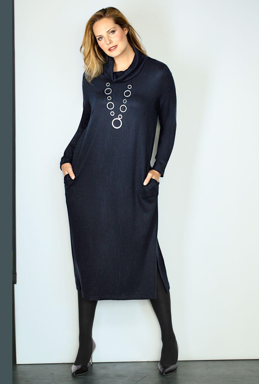 Jerseykleid, Rollkragen, A-Linie, selection | 71885870 ...