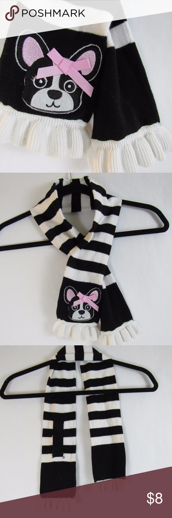 Black u white striped puppy scarf size pinterest