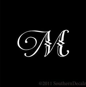 Initial M Fonts Monogram Script Font Initial Letter M Decal