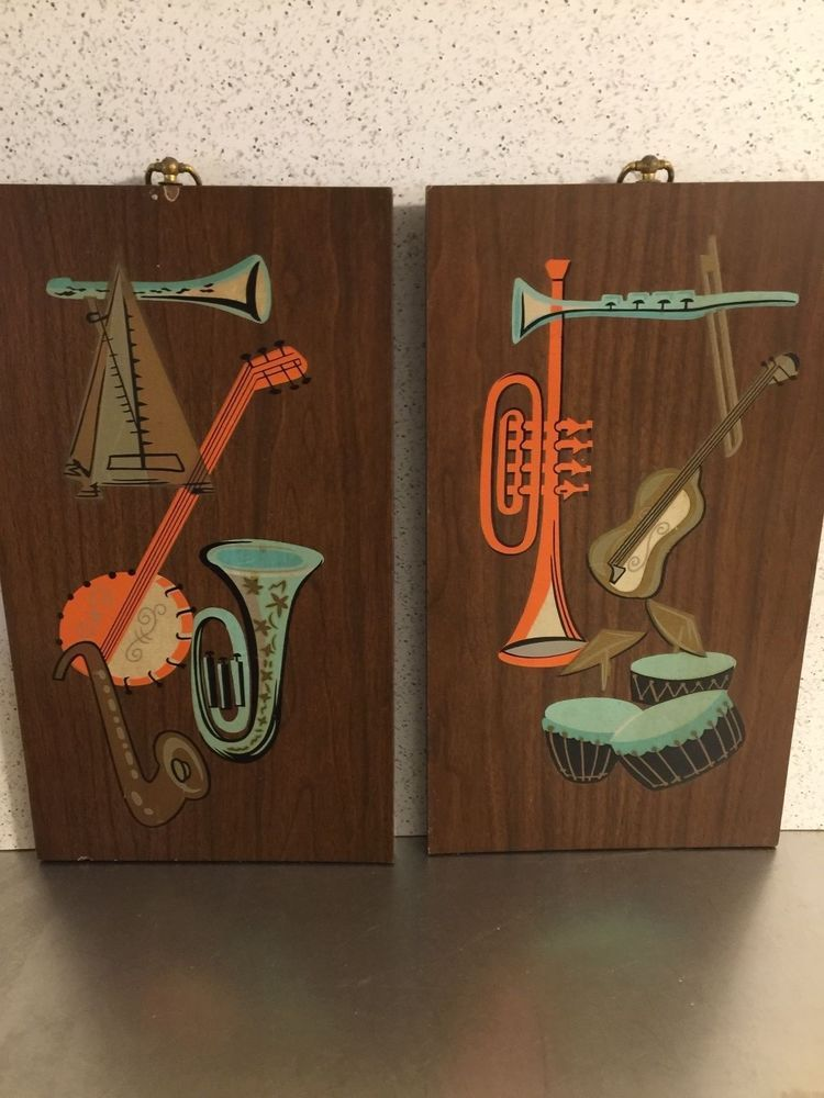 Mid Century Wall Art Musical Theme Truart Products Set 2 Wood ...