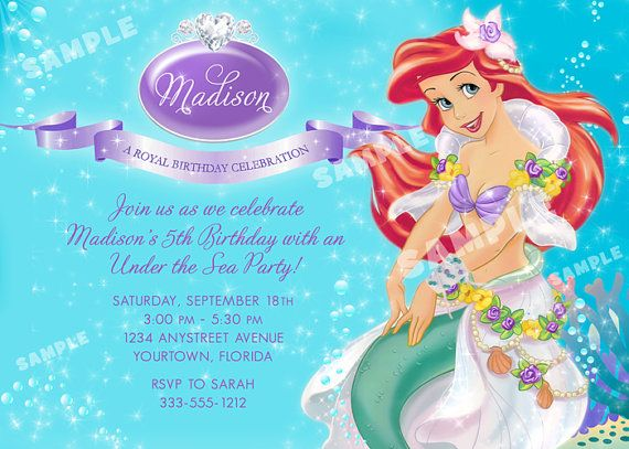 Ariel Invitation For Little Mermaid Birthday Party Printable File On Etsy Mermaid Birthday Party Invitations Little Mermaid Birthday Mermaid Birthday Party