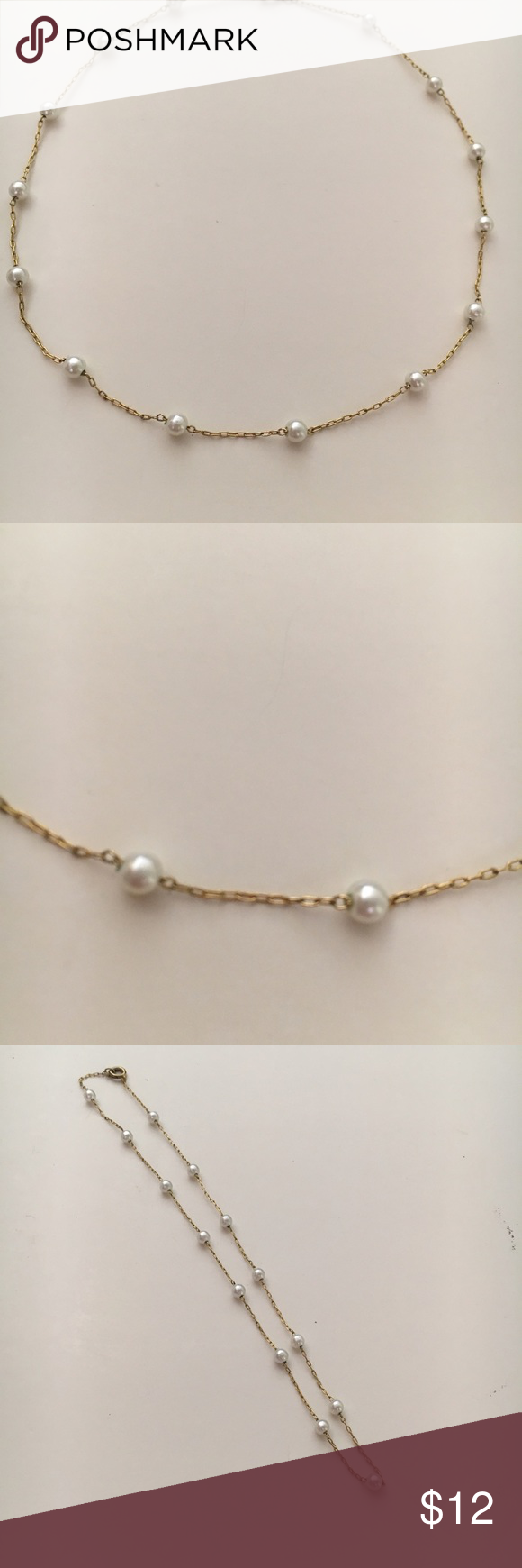 """14"""" Station Pearl Necklace Dainty 14"""" necklace with 14 pearls. EUC. I assume this is costume jewelry but the pearls look amazing.  No markings. Jewelry Necklaces"""