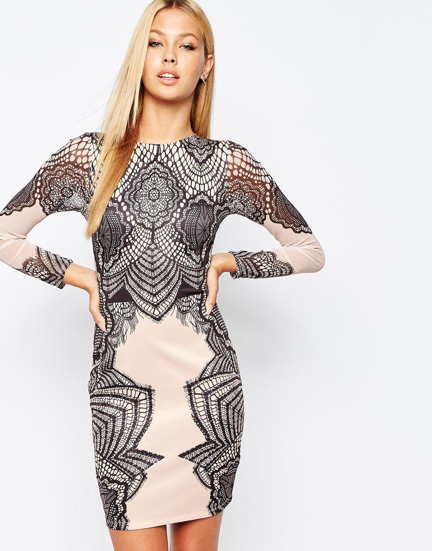 Lipsy – Figurbetontes, hochgeschlossenes Kleid mit Spitzendruck ...