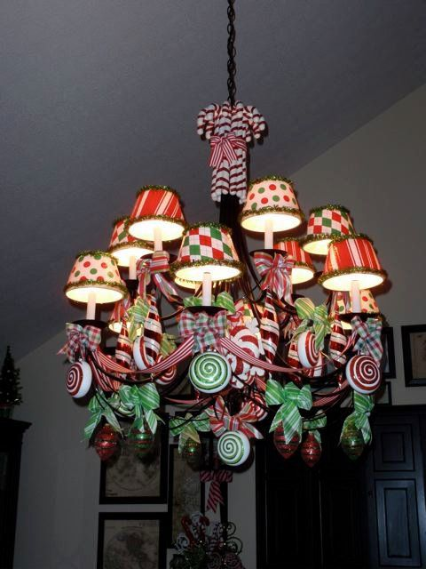 sweet and bright christmas chandelier decorated with ribbon and peppermint candy decorations and