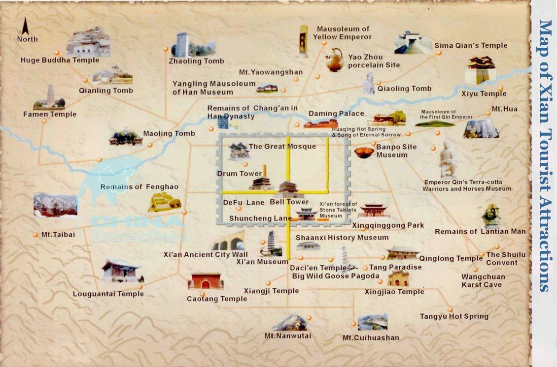 Terracotta Warriors Map Xian China Tourist Map Tourist Sites China Travel