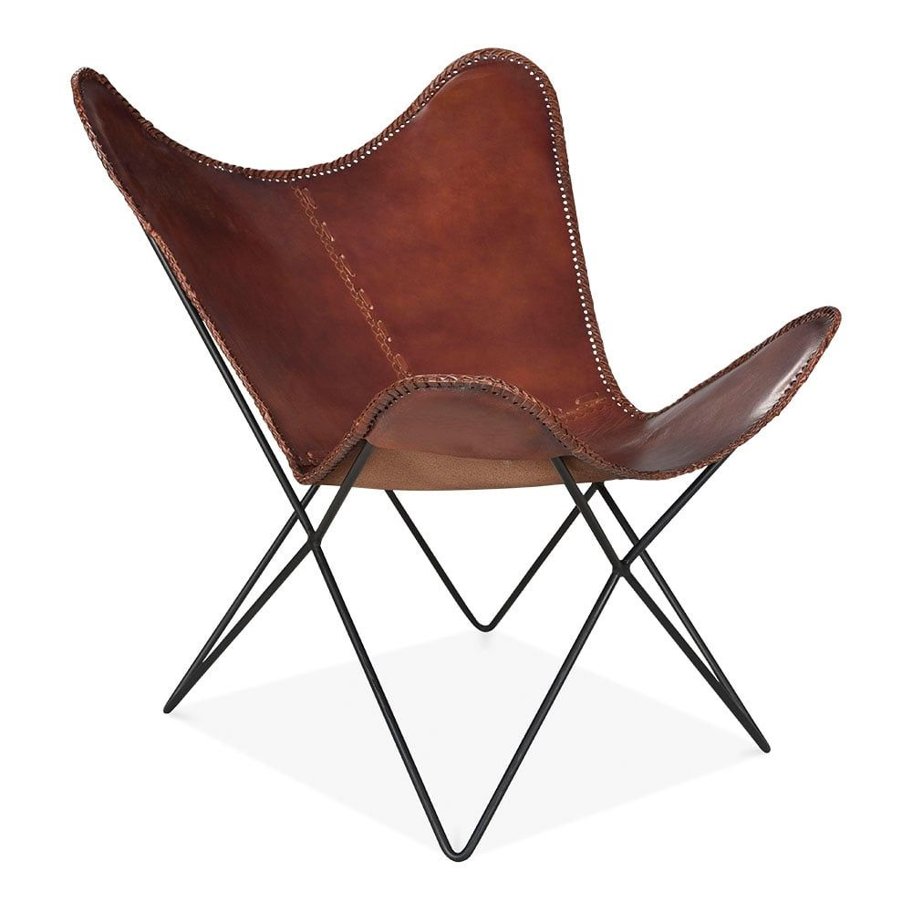 Xanthe Industrial Butterfly Accent Chair Genuine Leather Brown Butterfly Chair Office Chair Diy Affordable Leather Chair