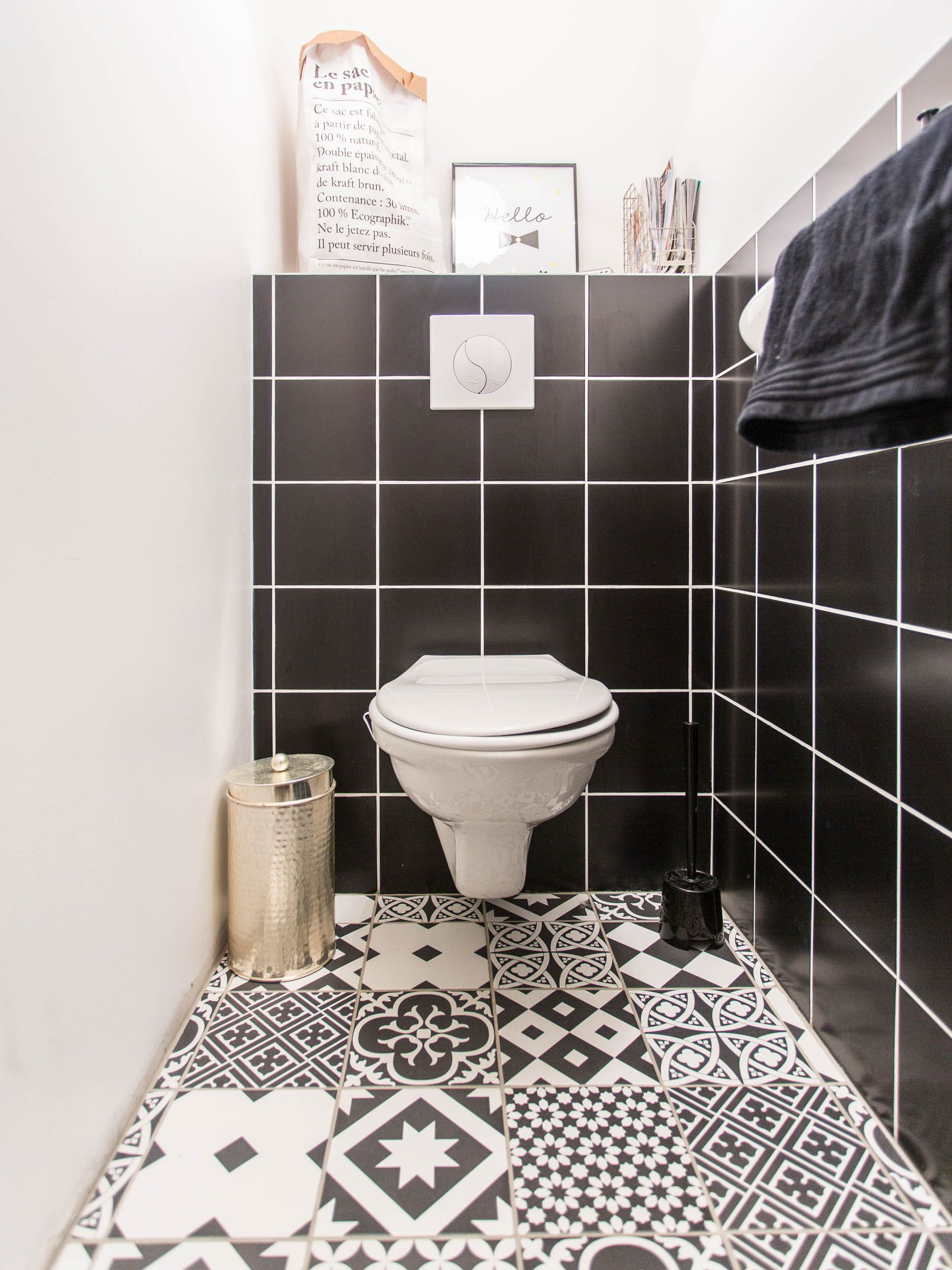 Jolie d coration de toilettes par marc antoine for Carrelage wc gris