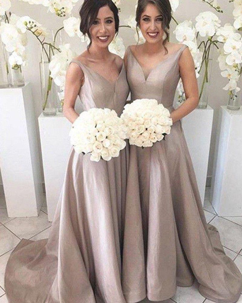 Vneck simple pleated nude floor length bridesmaid dress bd in