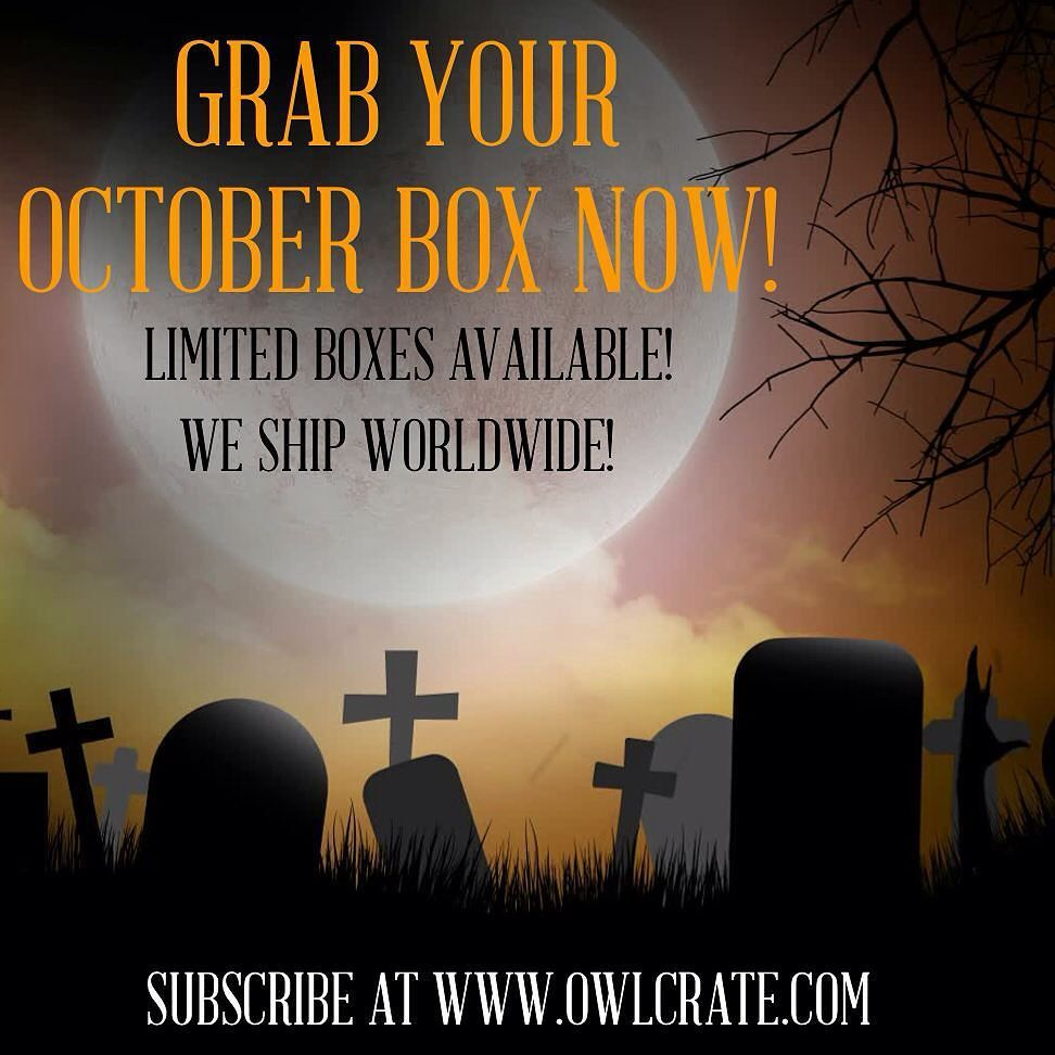 Spots are filling up fast for our October SPOOKY box!  Every month we sell out and every month we have people asking if we have any left over boxes. Subscribe today to avoid disappointment when all of your pals are posting unboxing photos of their goodies! Go to http://www.owlcrate.com to subscribe today and join the best community of book lovers out there! REMEMBER: if you are already subscribed to owlcrate you do NOT need to sign up again!  by owlcrate
