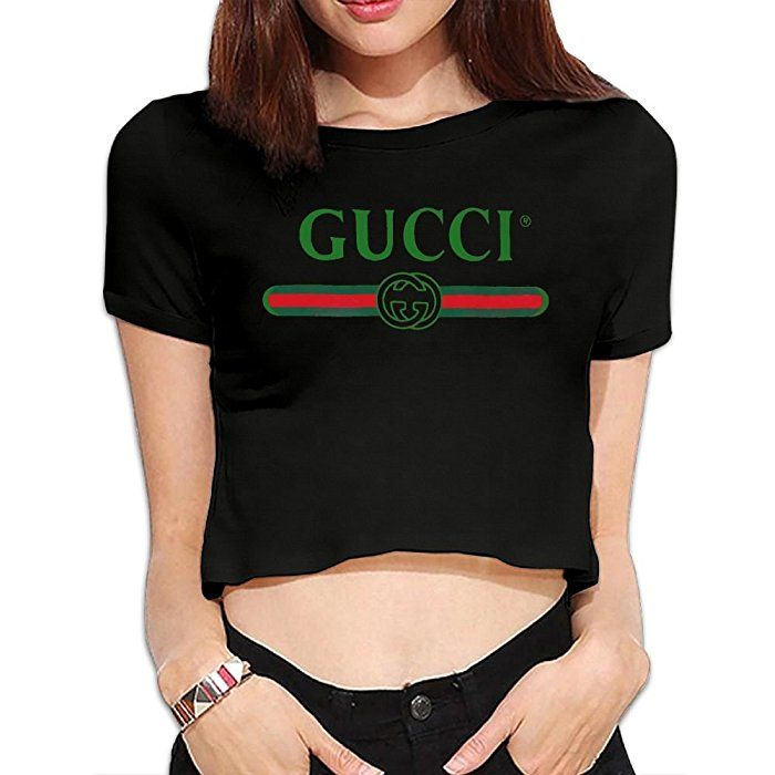 03ea5928678 Amazon.com  UanshanH Women s Sexy Exposed Belly Button T-Shirt Gucci Logo  Printed Pattern Short Sleeves Tees Tops  Clothing