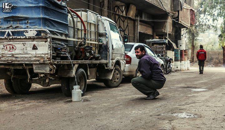 في انتظار الماء أن يملأ الجرة لآخرها وعلى أمل أن يملأ عمرنا شيء سوى الدماء هنا الغوطة الشرقية في 10 03 2017 Eastern Gouta On 10 Street View Scenes Photo