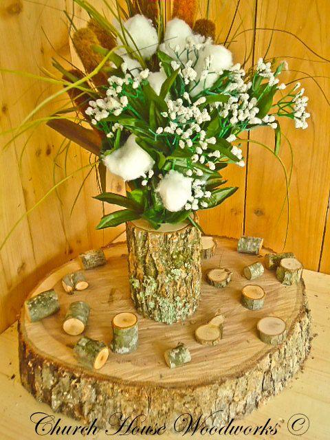 Tree branch vase log flower holder for rustic weddings country rustic country weddings junglespirit Image collections