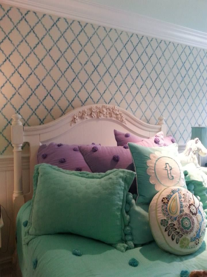 A stenciled bedroom accent wall using the Agora Allover Stencil from Cutting Edge Stencils. http://www.cuttingedgestencils.com/agora-wall-stencil-pattern.html