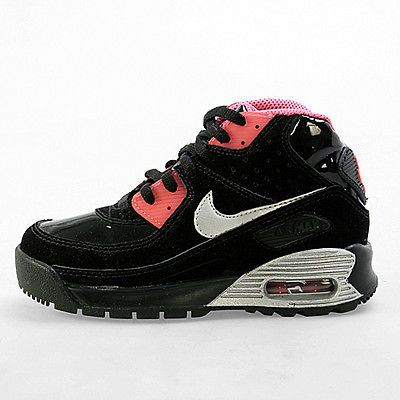 Nike Air Max 90 Boot Ps Little Kids 317298 001 Black Pink