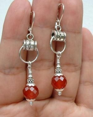 Pretty Faceted Red Carnelian Sterling Silver Earrings --- Different by wanting