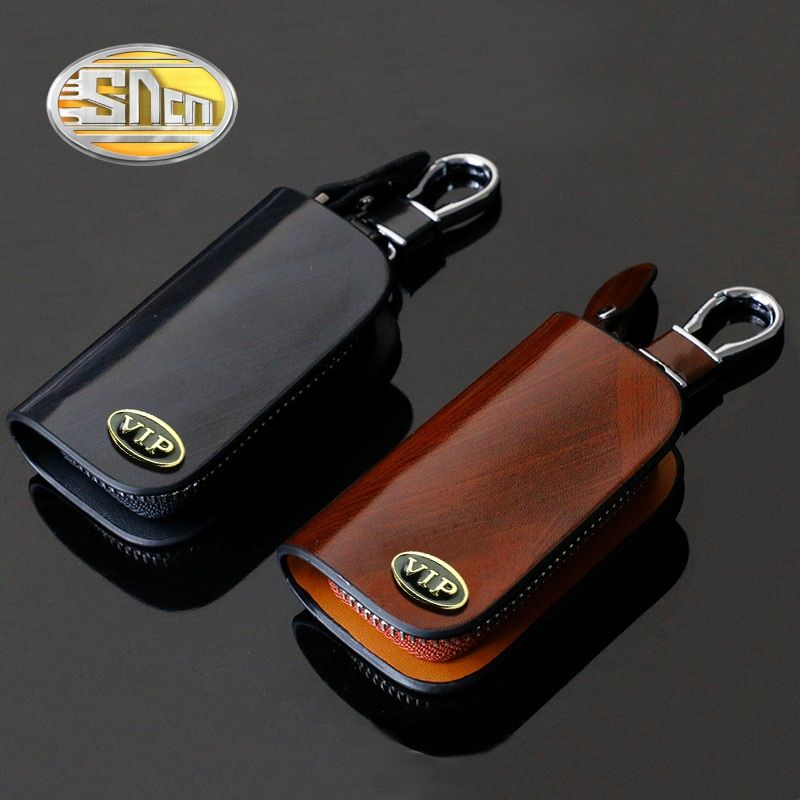 new VOLVO Genuine Cow Leather Car Key Bag Remote Cover Fob Holder Case Ring Coin