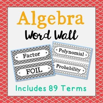 Algebra Vocabulary Science Word Wall Each Of The 89 Math Terms Has Been Created In Black And White For Super Easy Printing Its To Make Them Stand