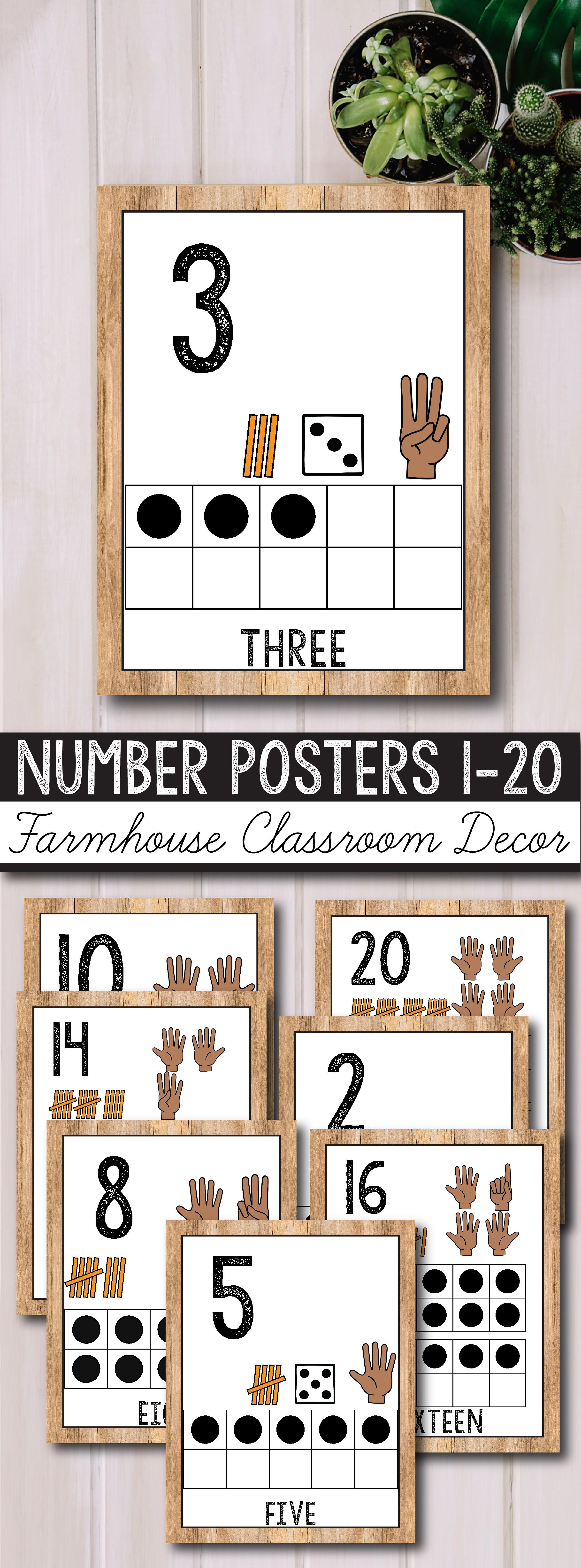 Number Posters 0-20 - Farmhouse Theme, Rustic Classroom Decor #classroomdecor