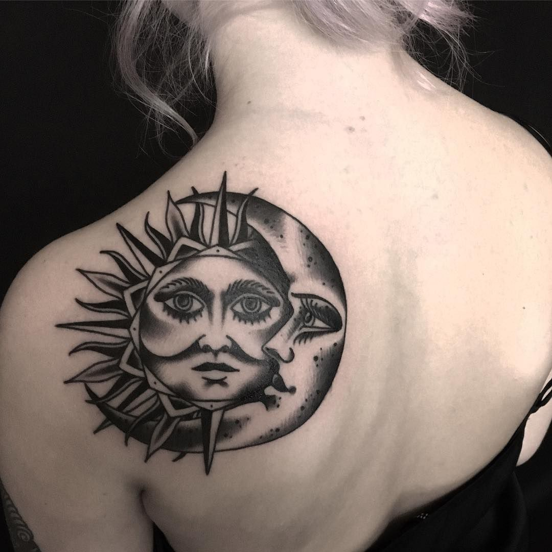 Big tattoo cover up ideas  meaningful and beautiful sun and moon tattoos  moon and tattoo