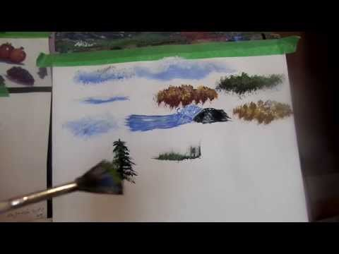 Acrylic Painting Tips And Tricks On Using Your Brushes To Make Trees Clouds Water Splash