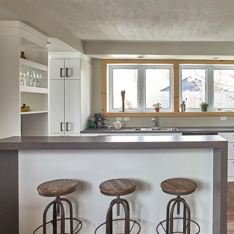 Lot sureleve avec comptoir de stratifie table d 39 lot central pinterest comptoir cuisine - Cuisine ouverte avec comptoir ...