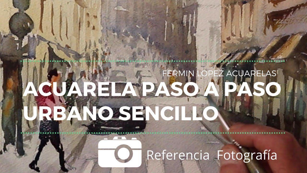 Acuarela Calle de Lisboa. Urbano Paso a Paso con detalle y explicación e...