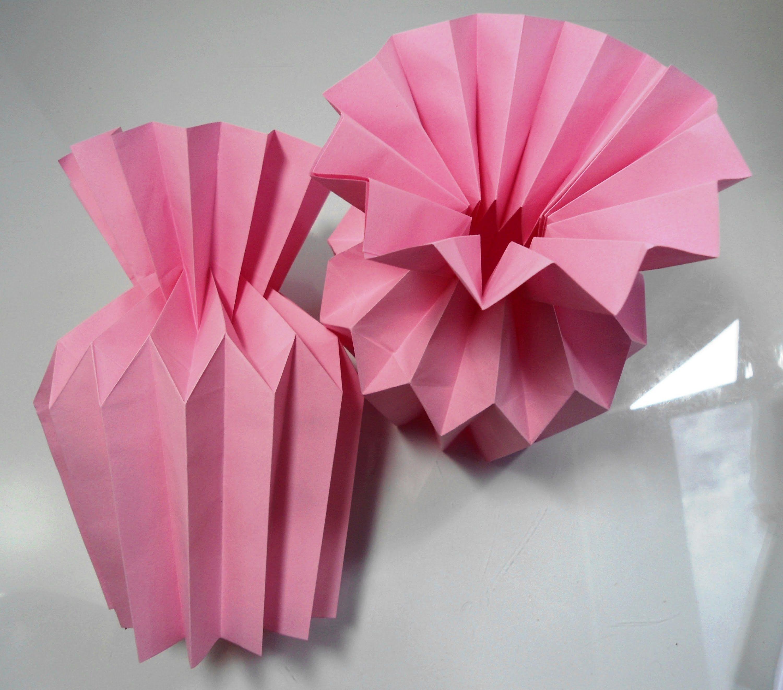 Jarro Plissado De Origami 1 Verso Vazo Pinterest Origami